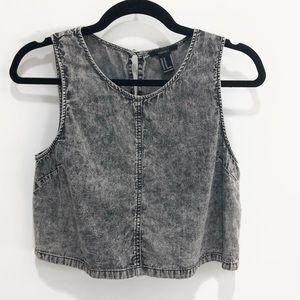 EUC Forever21 Grey Lightweight Denim Cropped Shirt